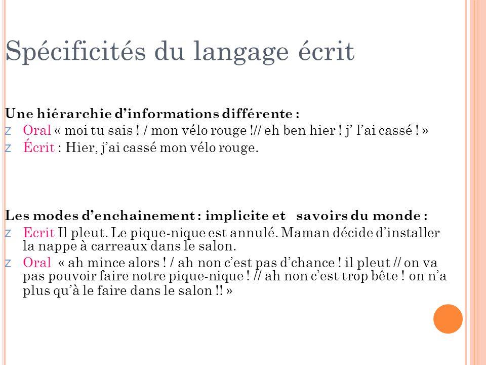Spécificités du langage écrit