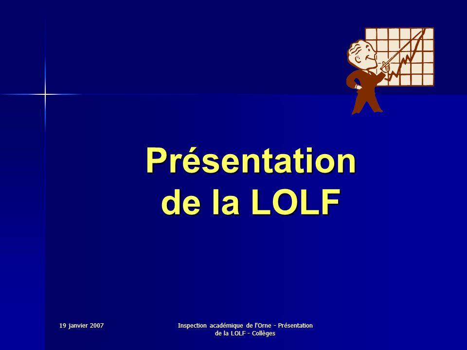 Présentation de la LOLF