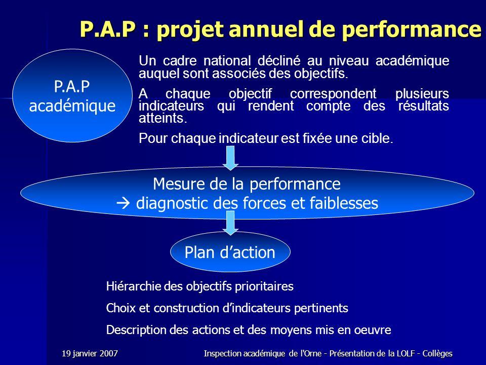 P.A.P : projet annuel de performance