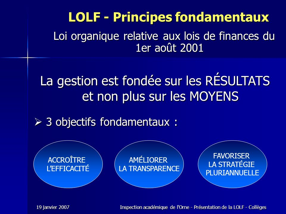 LOLF - Principes fondamentaux