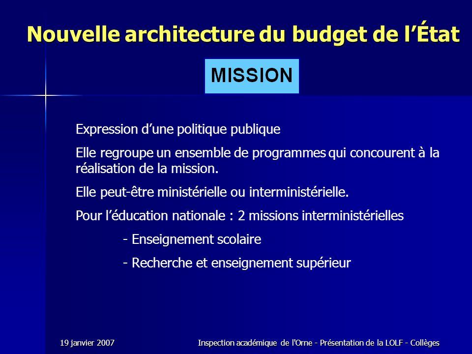 Nouvelle architecture du budget de l'État