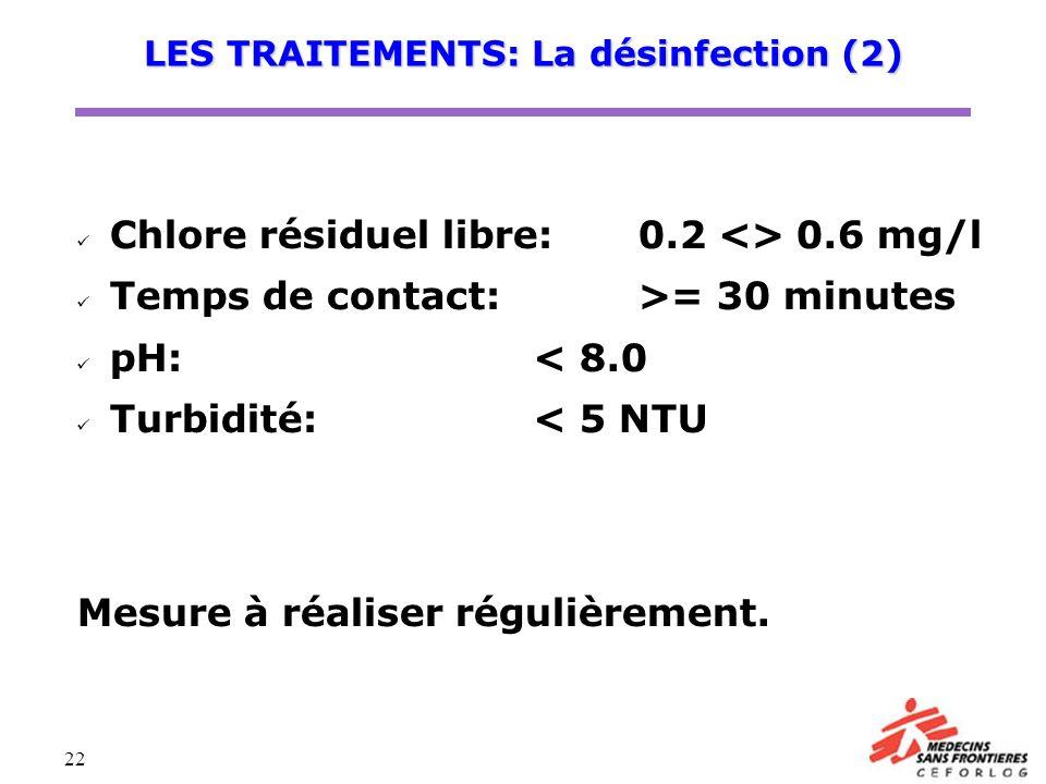 LES TRAITEMENTS: La désinfection (2)