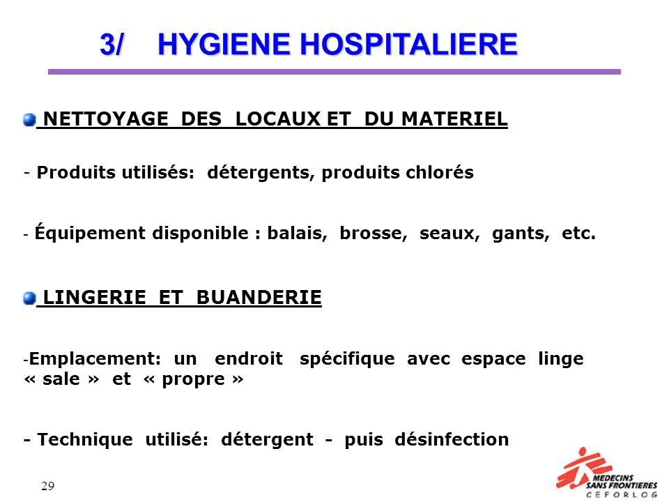 3/ HYGIENE HOSPITALIERE