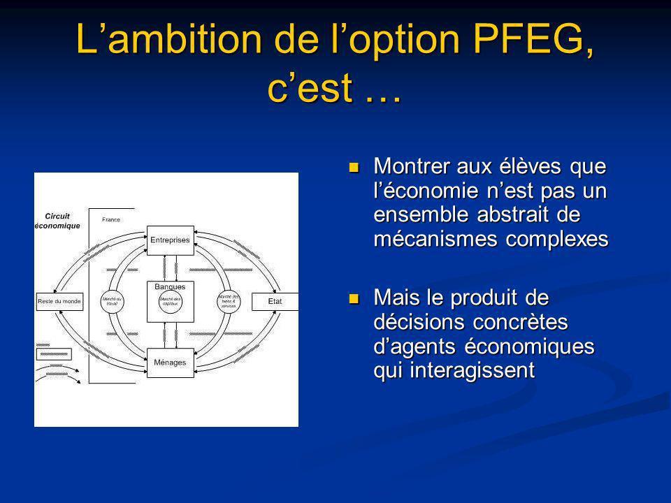 L'ambition de l'option PFEG, c'est …