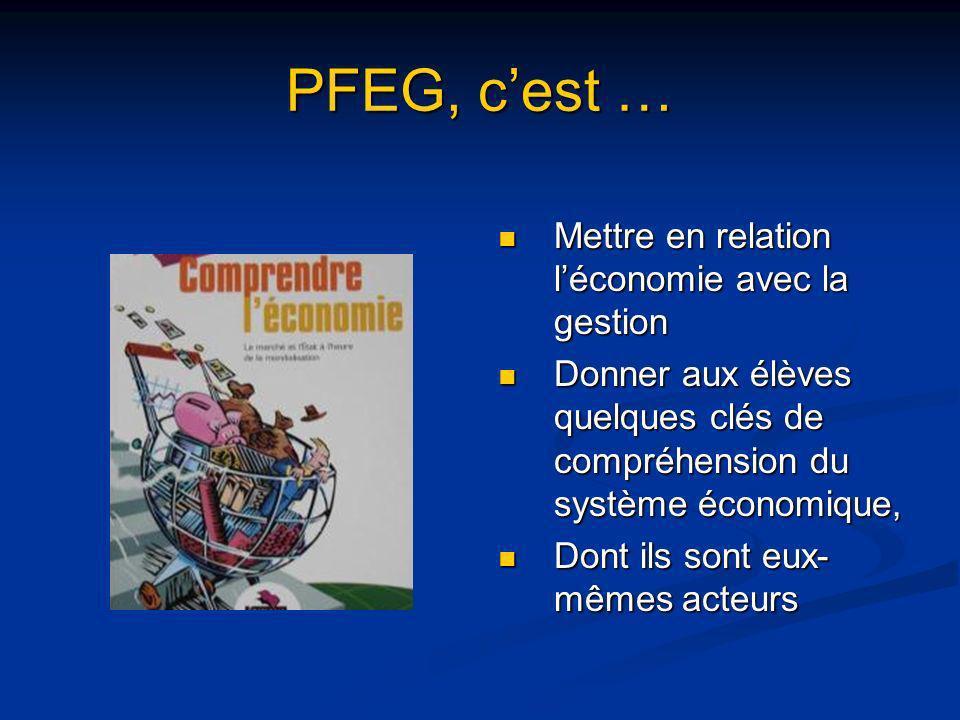 PFEG, c'est … Mettre en relation l'économie avec la gestion