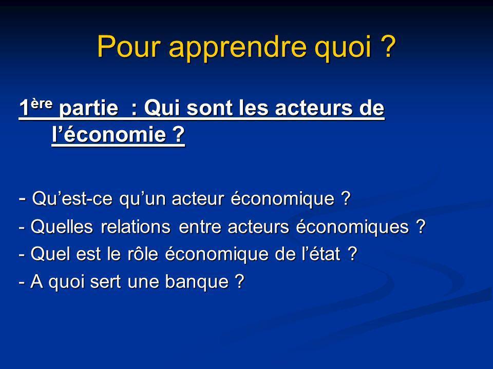Pour apprendre quoi 1ère partie : Qui sont les acteurs de l'économie - Qu'est-ce qu'un acteur économique
