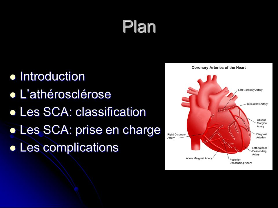 Plan Introduction L'athérosclérose Les SCA: classification