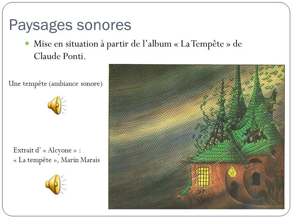 Paysages sonores Mise en situation à partir de l'album « La Tempête » de Claude Ponti. Une tempête (ambiance sonore)