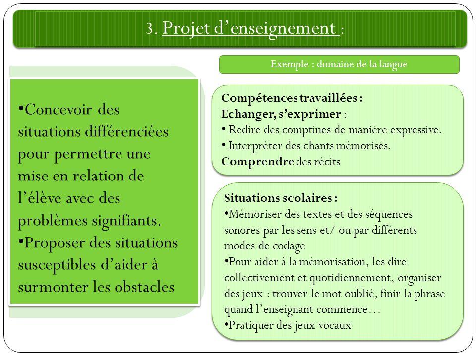 3. Projet d'enseignement :