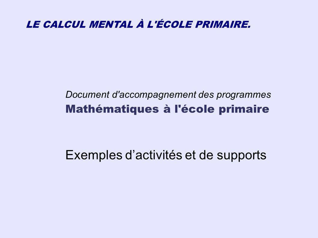 Exemples d'activités et de supports