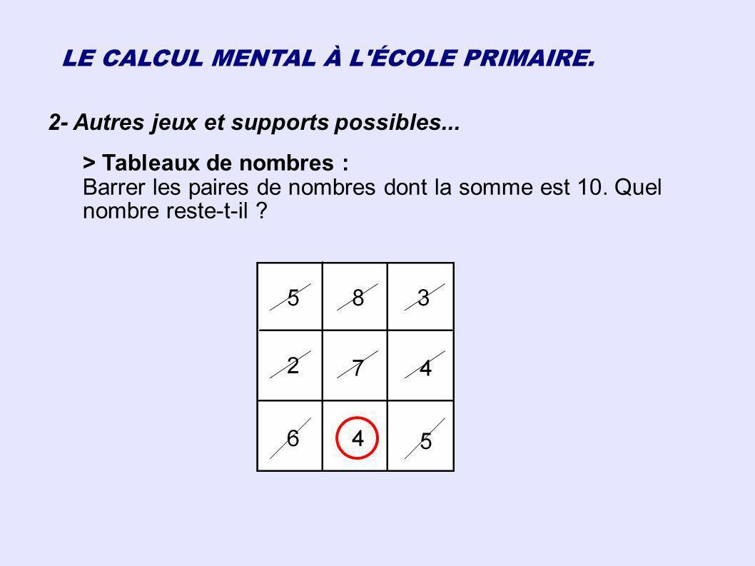 LE CALCUL MENTAL À L ÉCOLE PRIMAIRE.