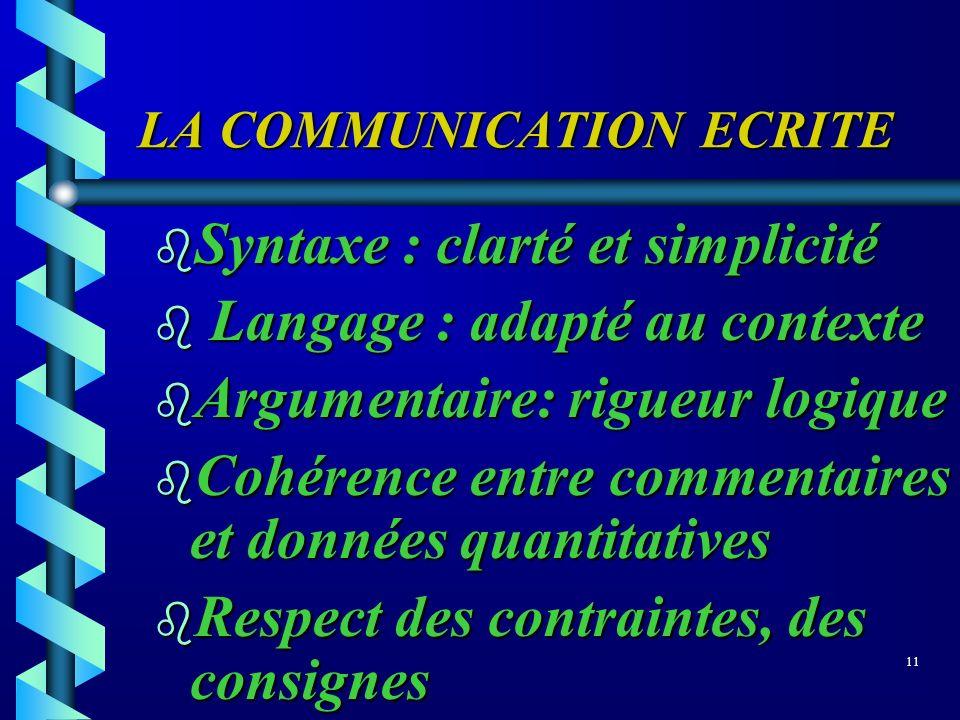 LA COMMUNICATION ECRITE