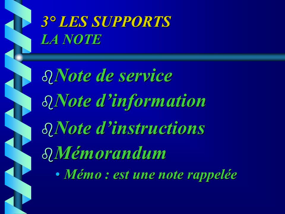 Note de service Note d'information Note d'instructions Mémorandum