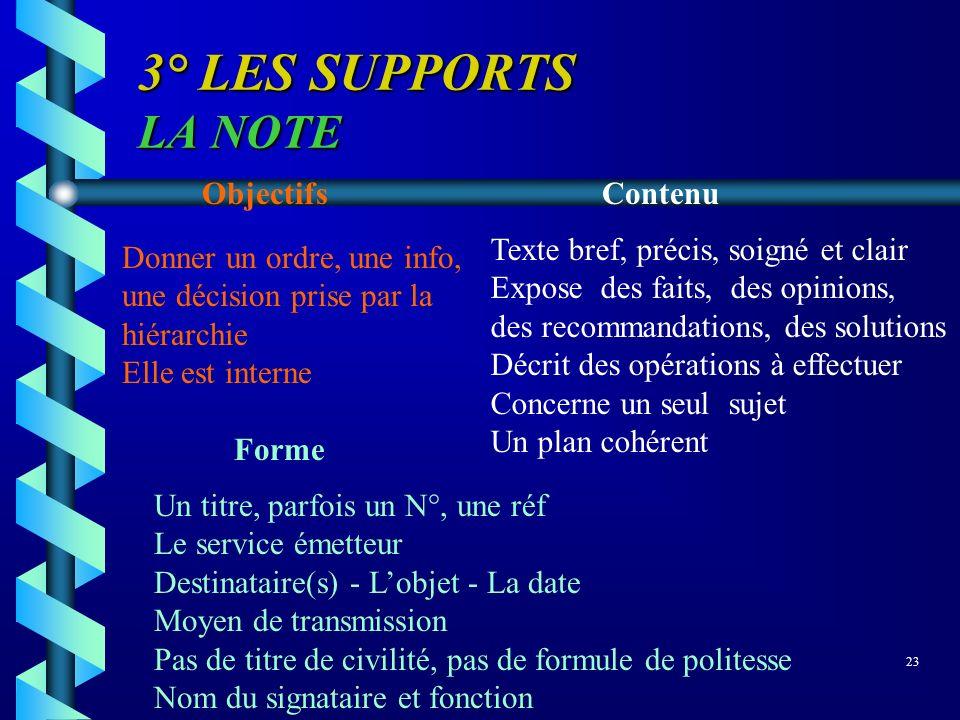 3° LES SUPPORTS LA NOTE Objectifs Contenu