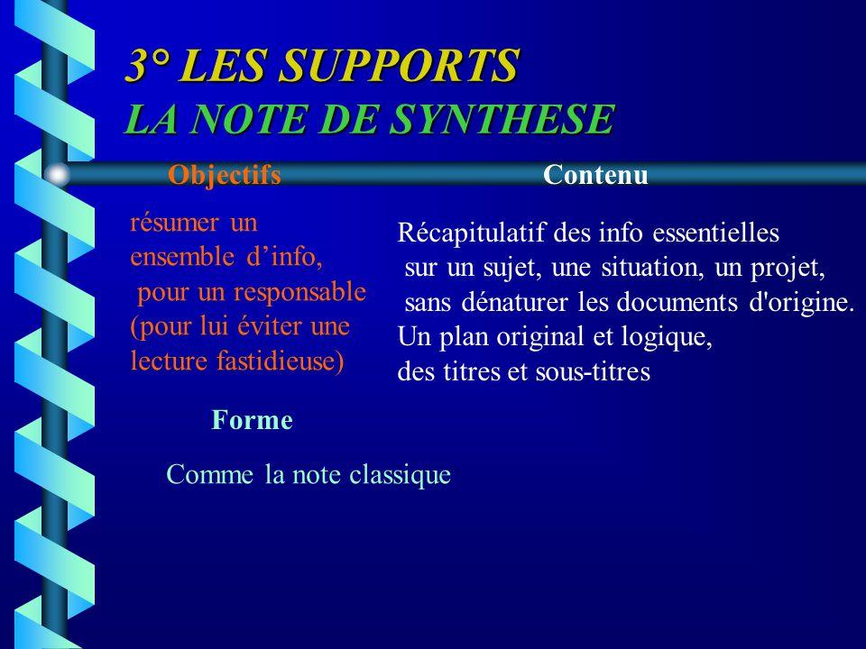 3° LES SUPPORTS LA NOTE DE SYNTHESE