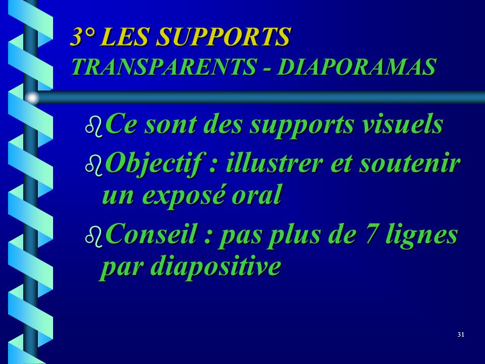 3° LES SUPPORTS TRANSPARENTS - DIAPORAMAS