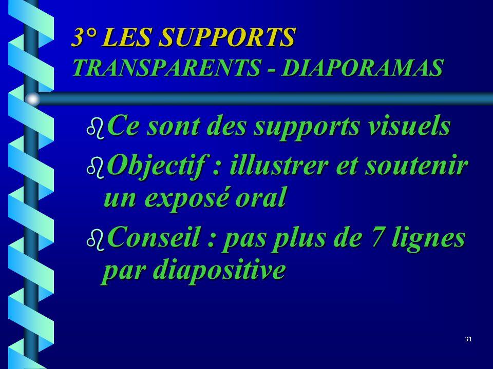 3° LES SUPPORTS TRANSPARENTS - DIAPORAMAS