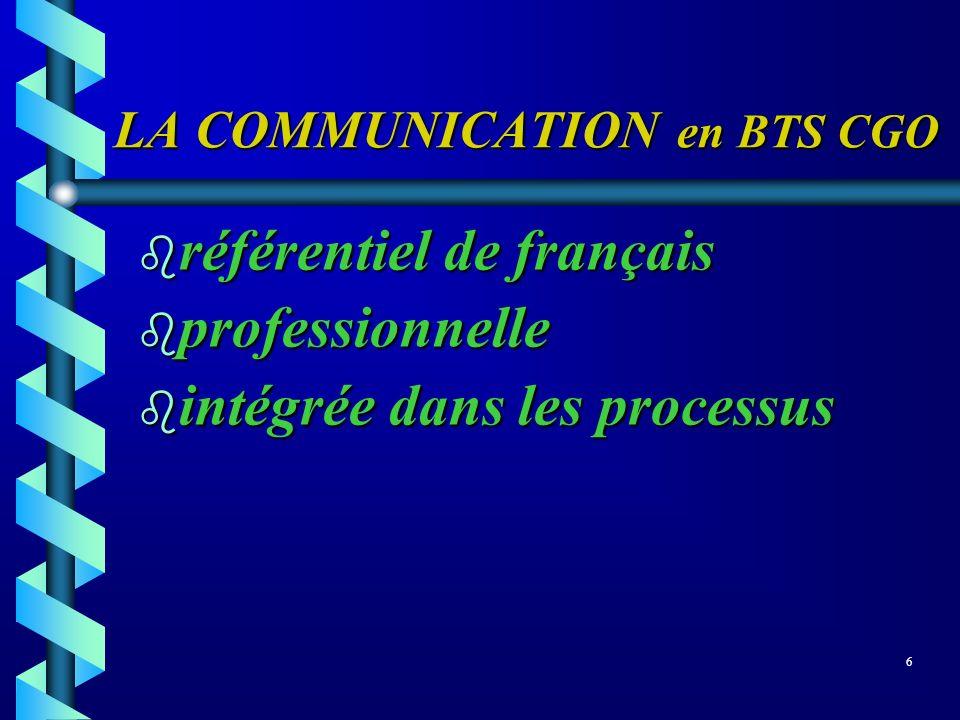 LA COMMUNICATION en BTS CGO