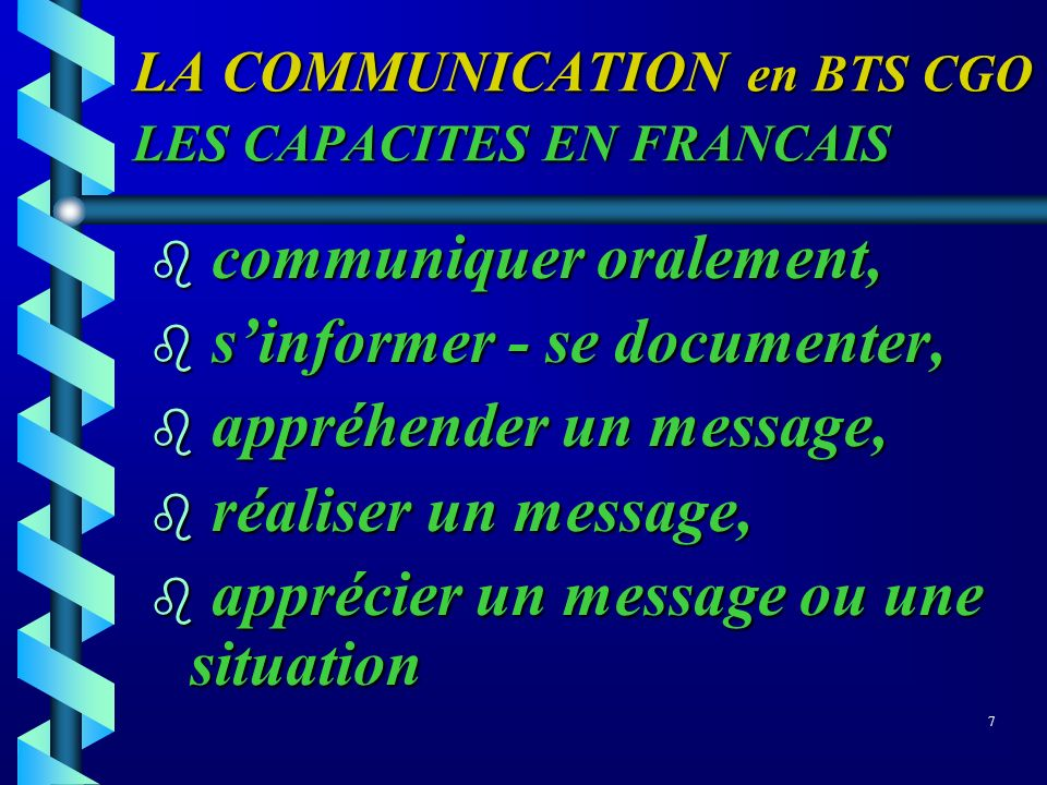 LA COMMUNICATION en BTS CGO LES CAPACITES EN FRANCAIS