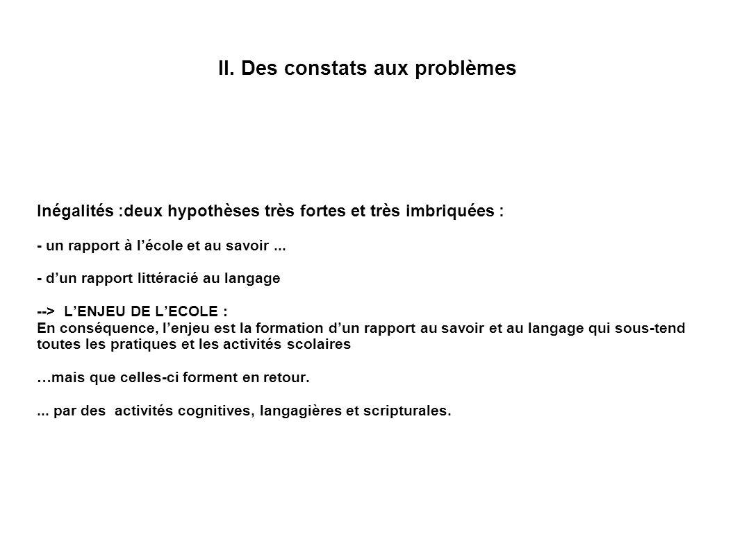 II. Des constats aux problèmes