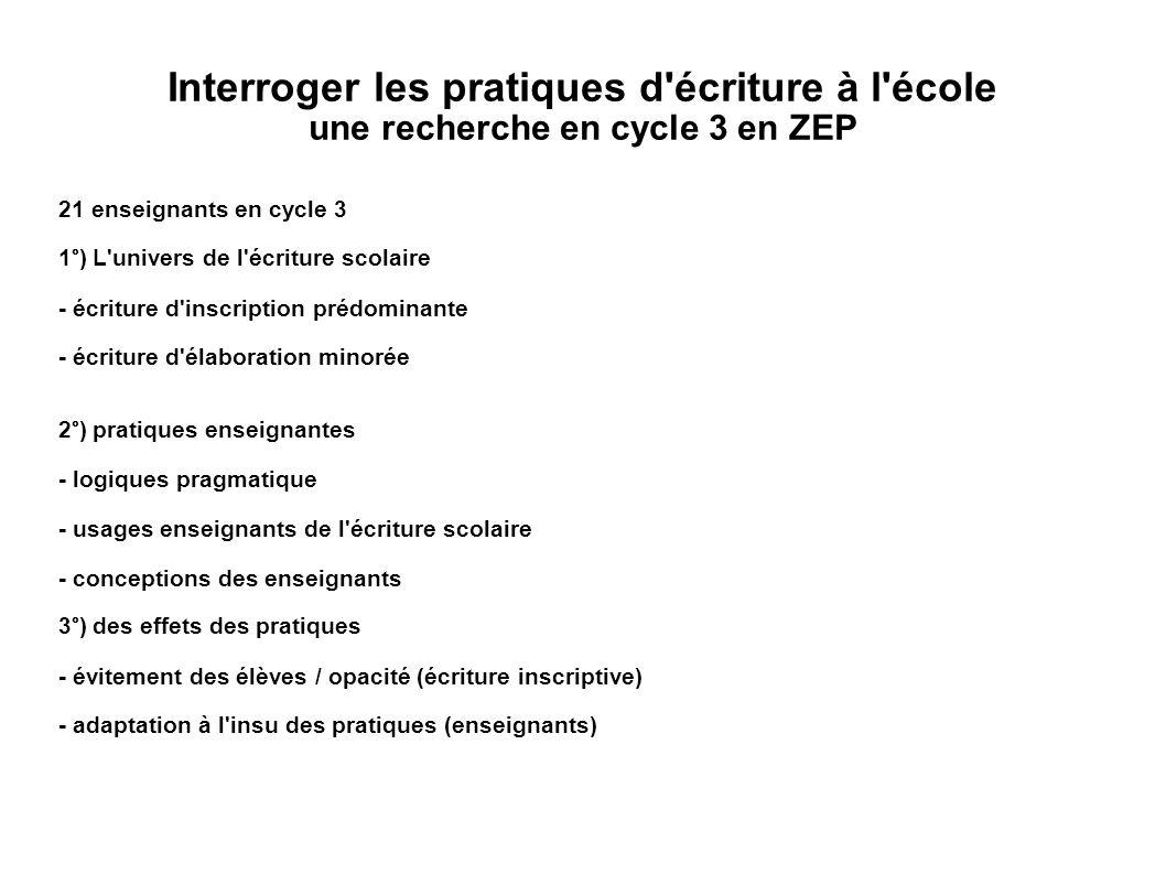 Interroger les pratiques d écriture à l école une recherche en cycle 3 en ZEP