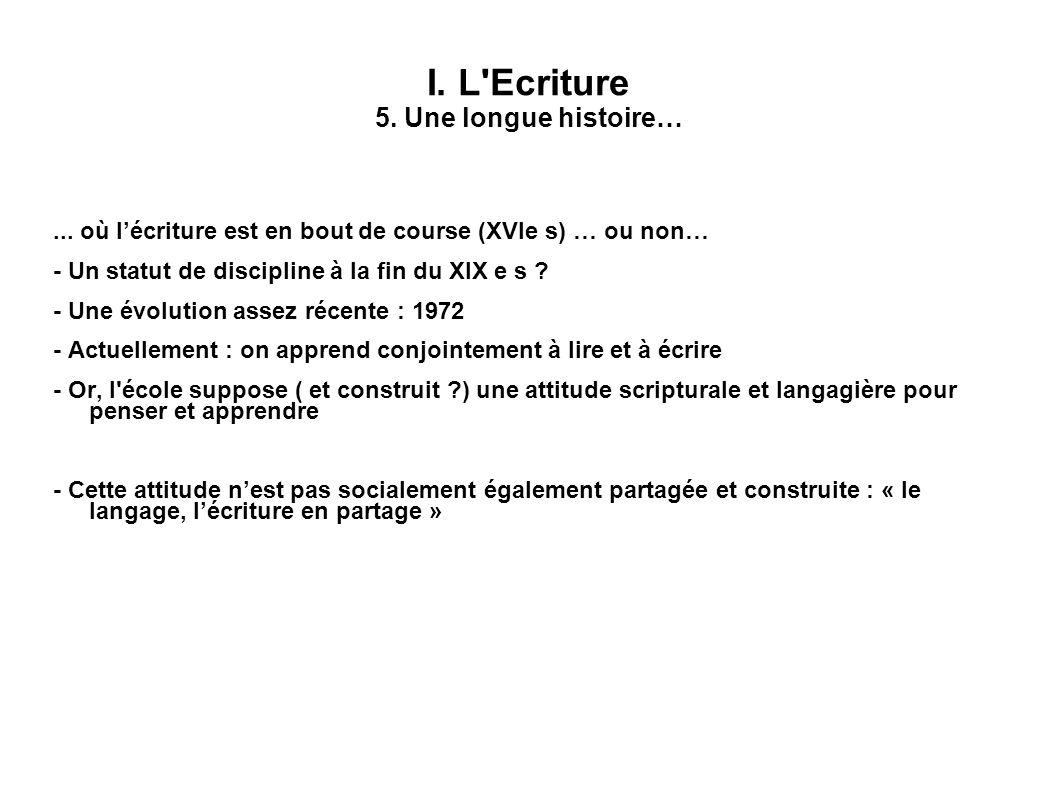 I. L Ecriture 5. Une longue histoire…