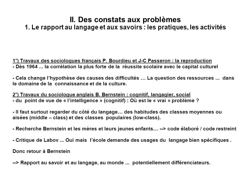 II. Des constats aux problèmes 1