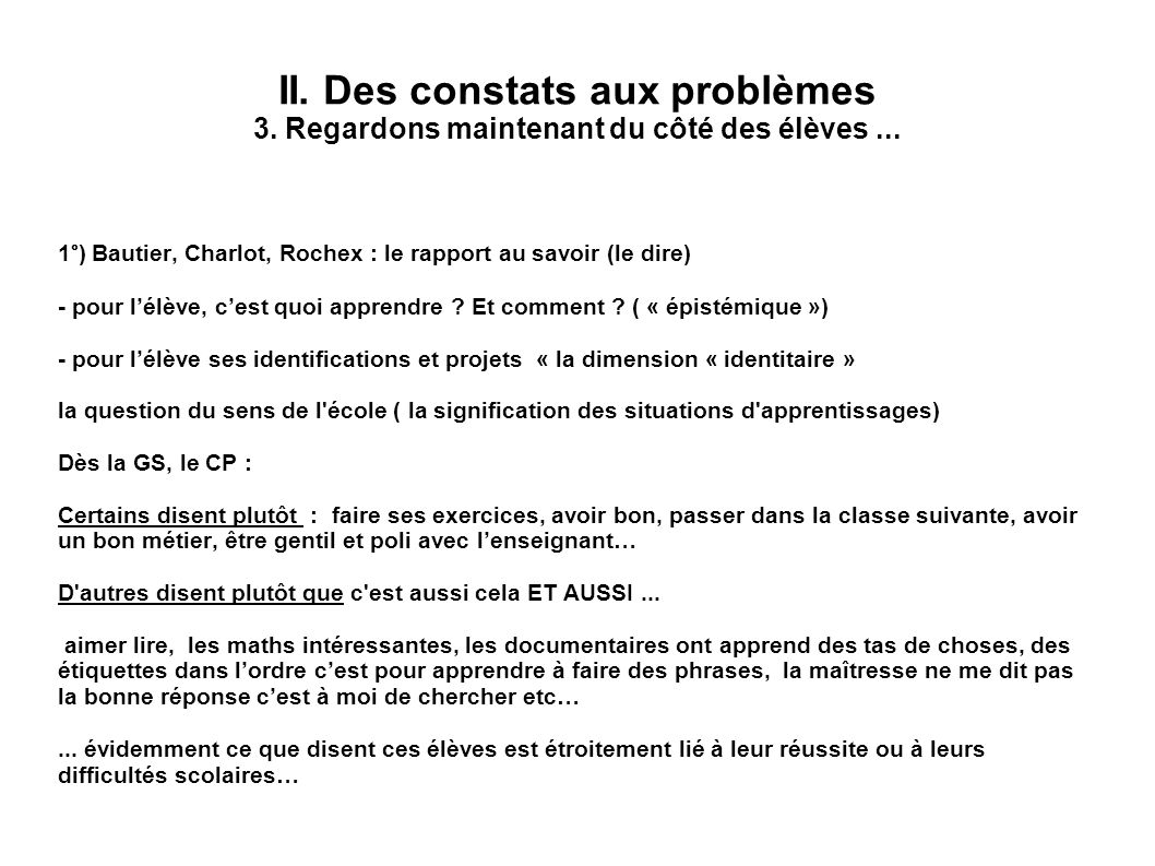II. Des constats aux problèmes 3