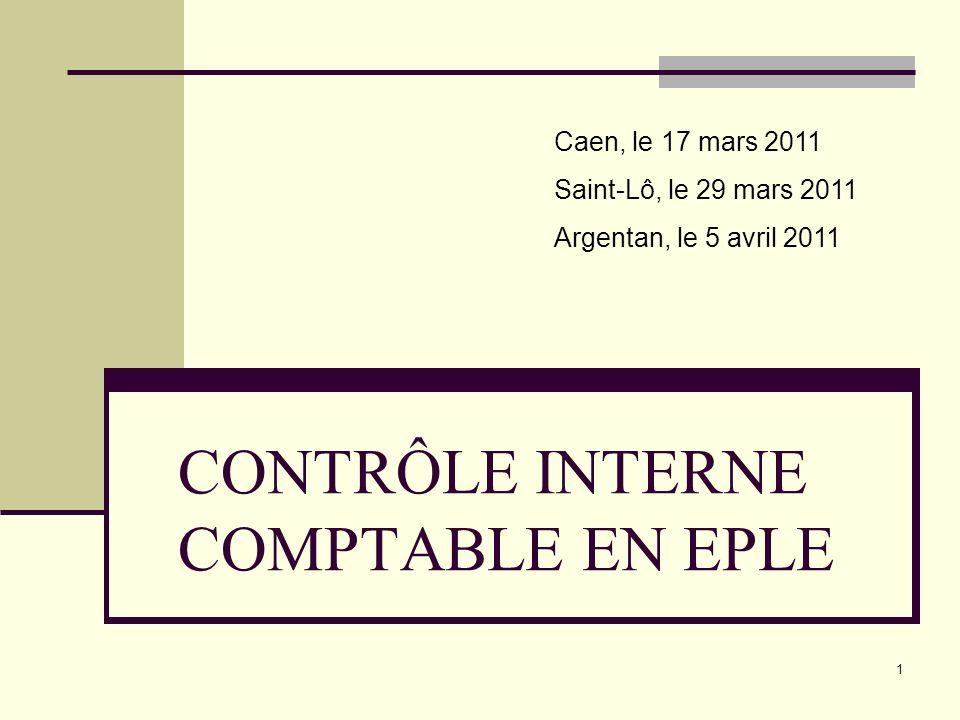 CONTRÔLE INTERNE COMPTABLE EN EPLE
