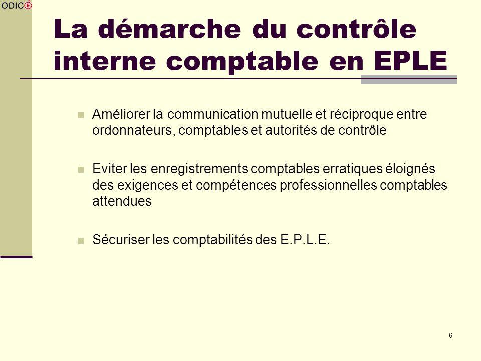 La démarche du contrôle interne comptable en EPLE