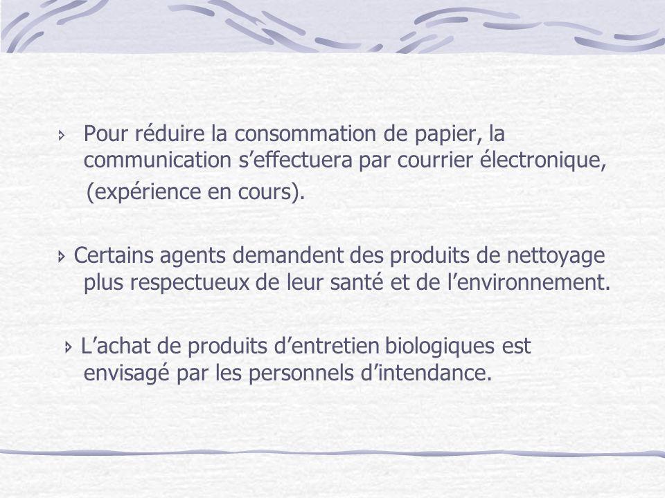 Pour réduire la consommation de papier, la communication s'effectuera par courrier électronique,