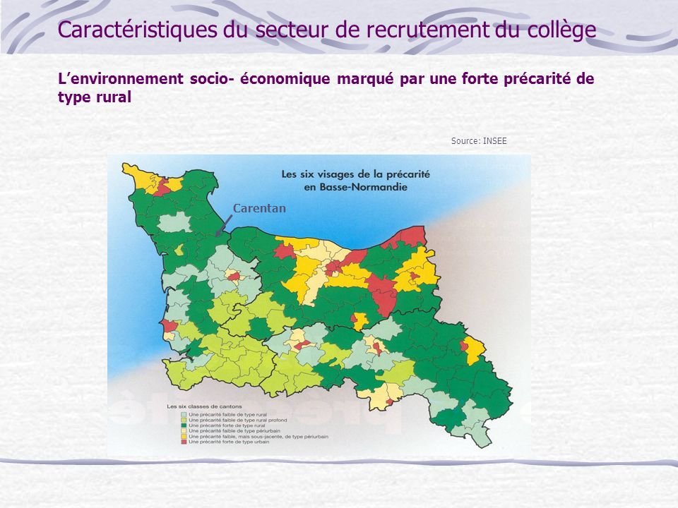 Caractéristiques du secteur de recrutement du collège L'environnement socio- économique marqué par une forte précarité de type rural