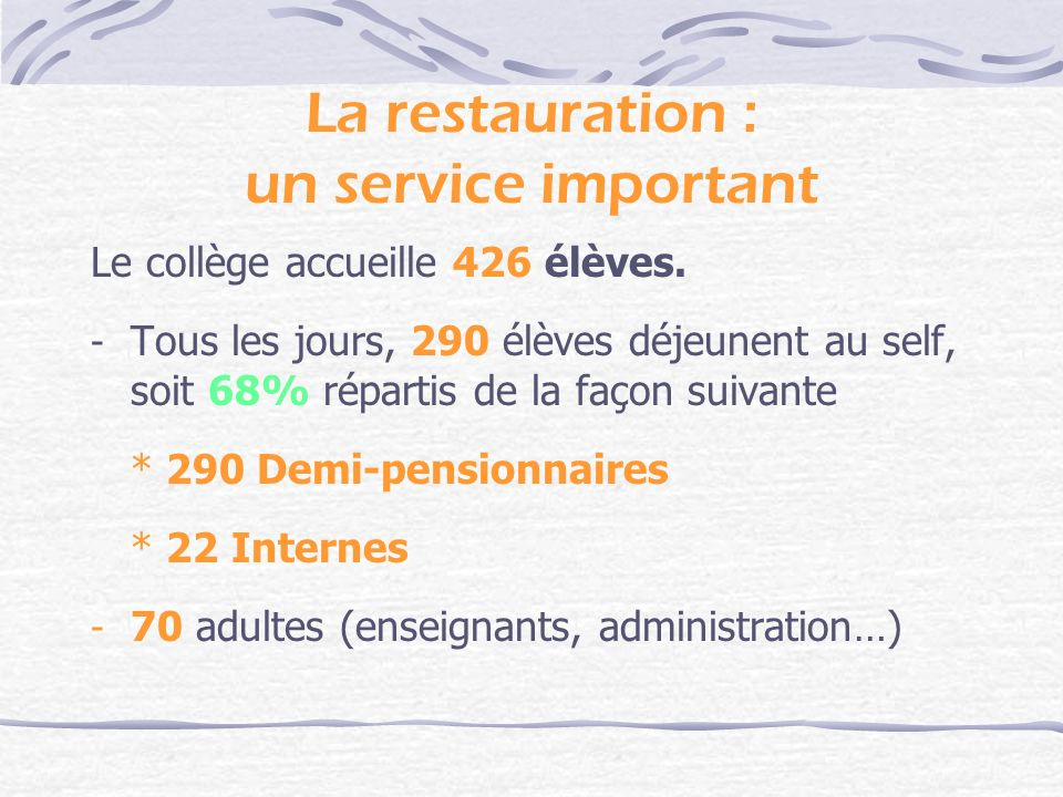 La restauration : un service important