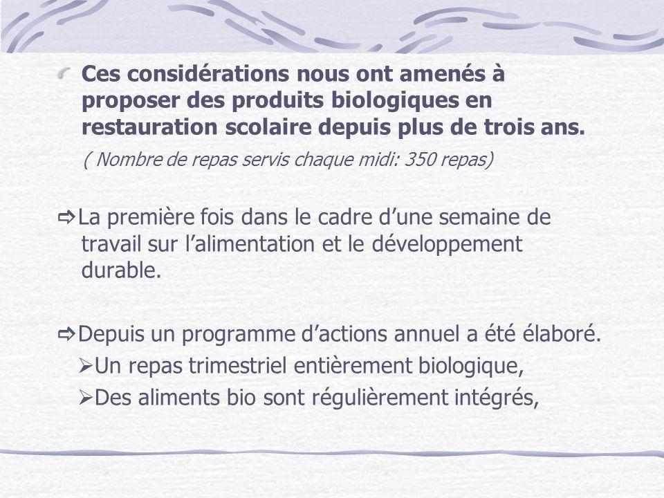 Ces considérations nous ont amenés à proposer des produits biologiques en restauration scolaire depuis plus de trois ans.