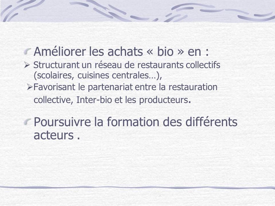 Améliorer les achats « bio » en :