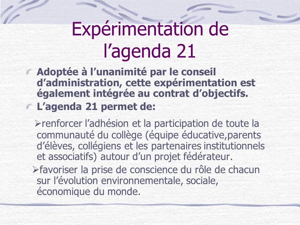 Expérimentation de l'agenda 21