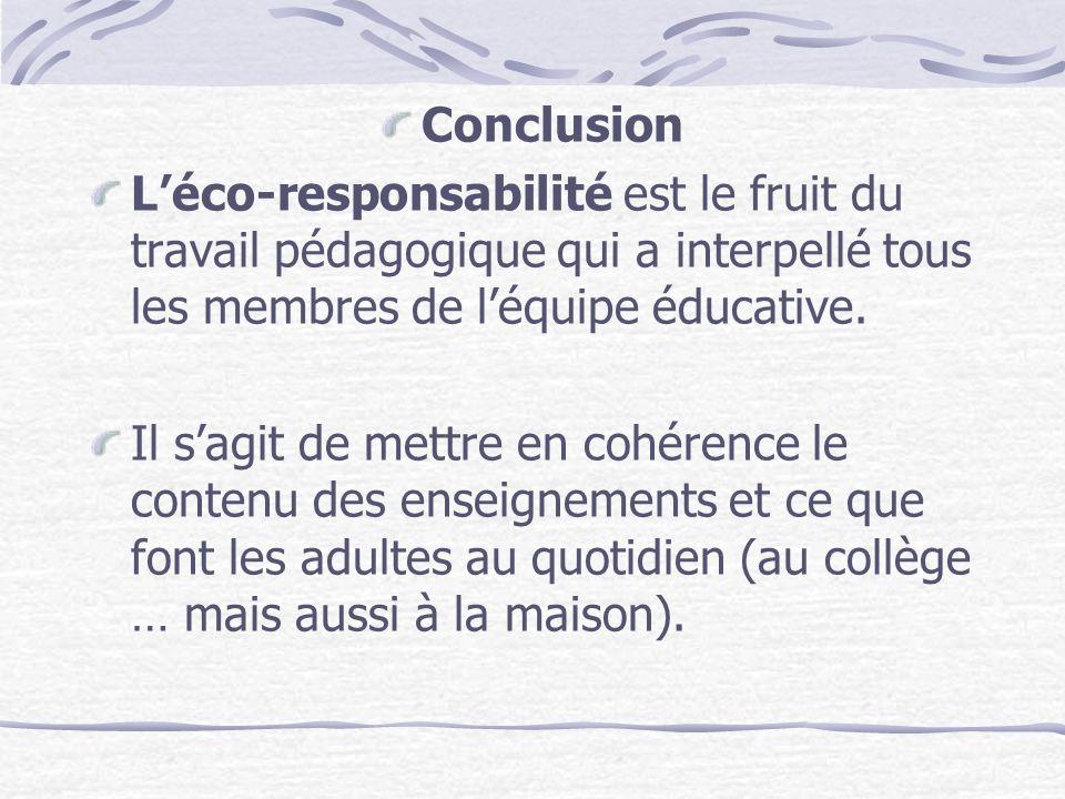 ConclusionL'éco-responsabilité est le fruit du travail pédagogique qui a interpellé tous les membres de l'équipe éducative.