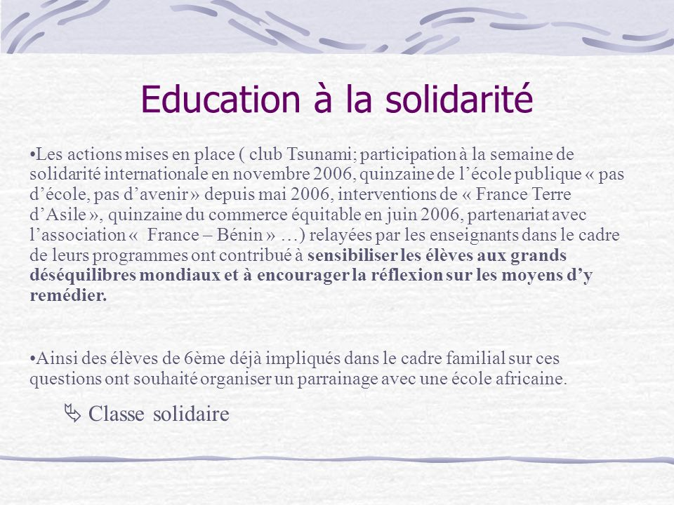 Education à la solidarité