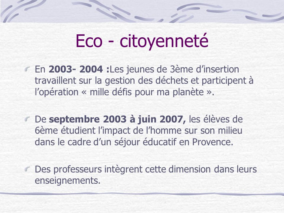 Eco - citoyenneté