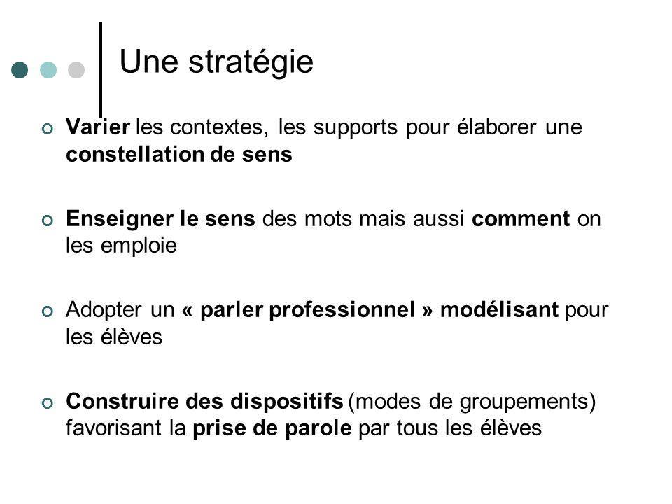 Une stratégie Varier les contextes, les supports pour élaborer une constellation de sens.