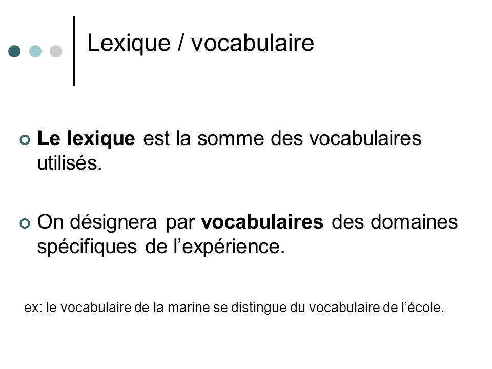 Lexique / vocabulaire Le lexique est la somme des vocabulaires utilisés. On désignera par vocabulaires des domaines spécifiques de l'expérience.
