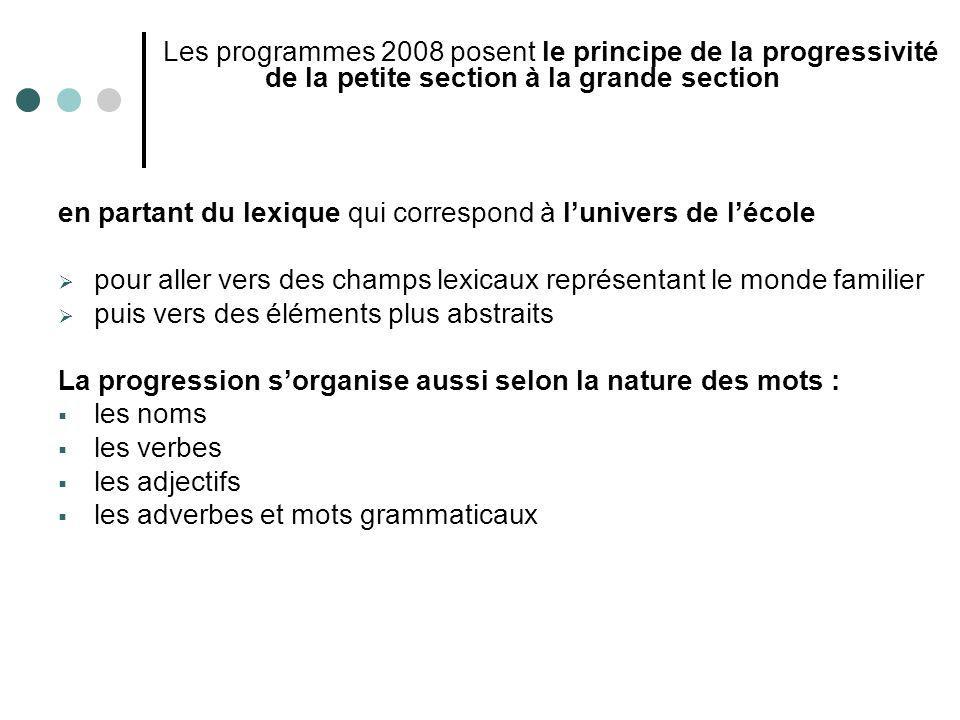 Les programmes 2008 posent le principe de la progressivité de la petite section à la grande section