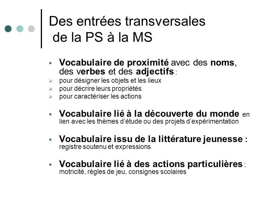 Des entrées transversales de la PS à la MS