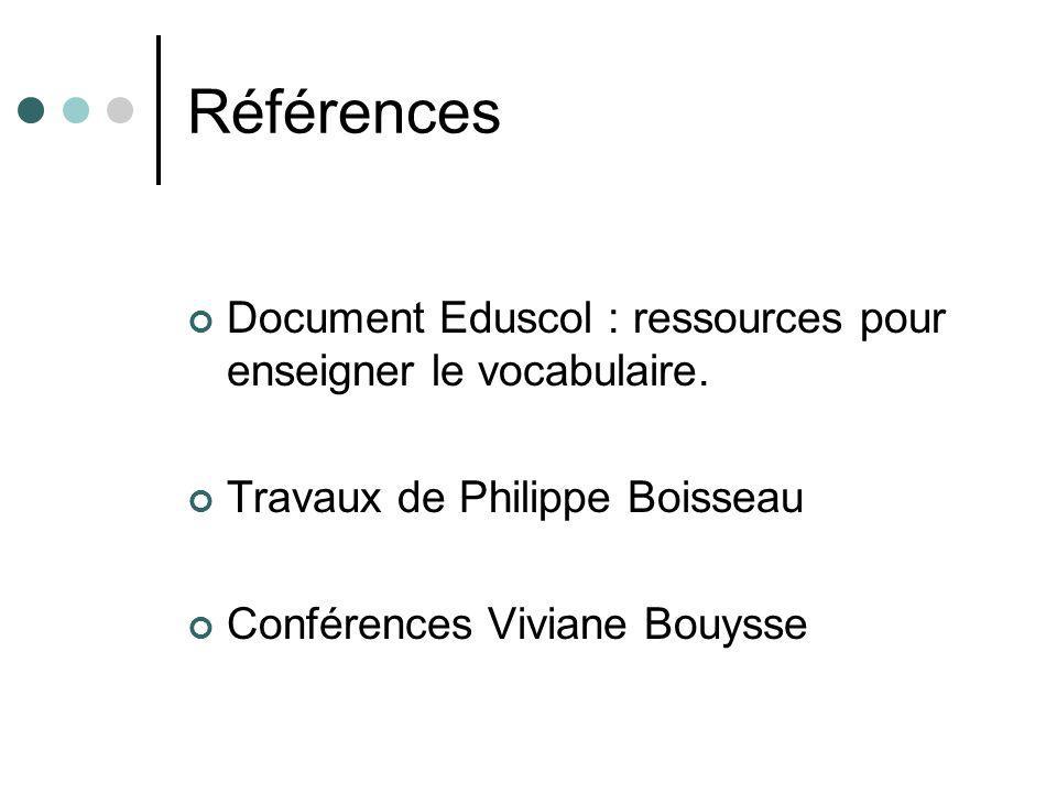 Références Document Eduscol : ressources pour enseigner le vocabulaire. Travaux de Philippe Boisseau.