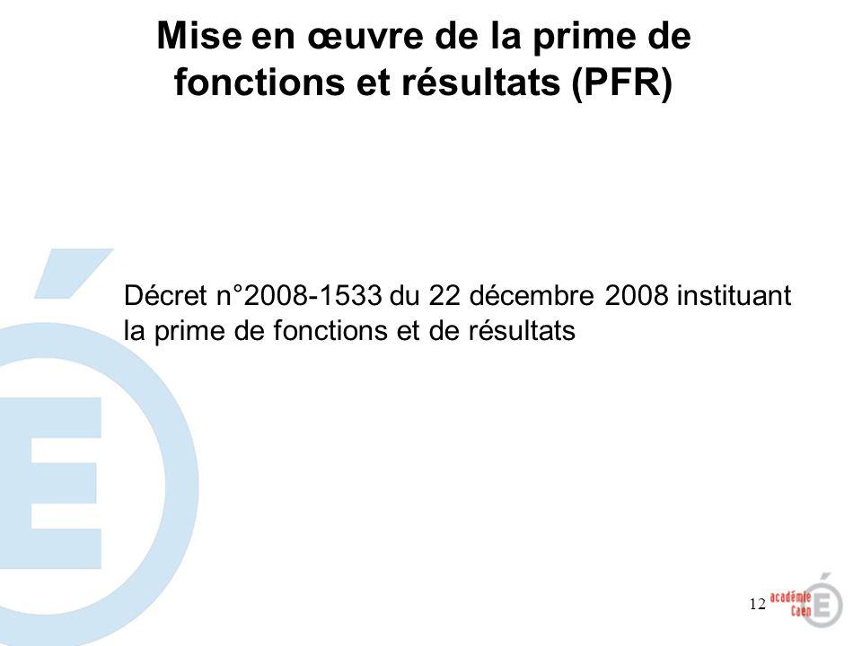 Mise en œuvre de la prime de fonctions et résultats (PFR)