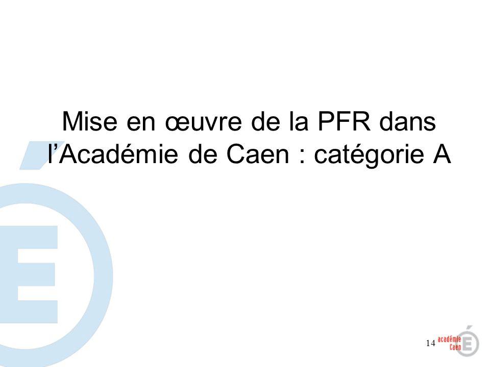 Mise en œuvre de la PFR dans l'Académie de Caen : catégorie A