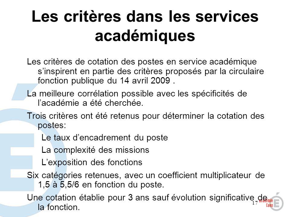 Les critères dans les services académiques