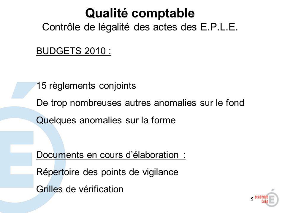 Qualité comptable Contrôle de légalité des actes des E.P.L.E.
