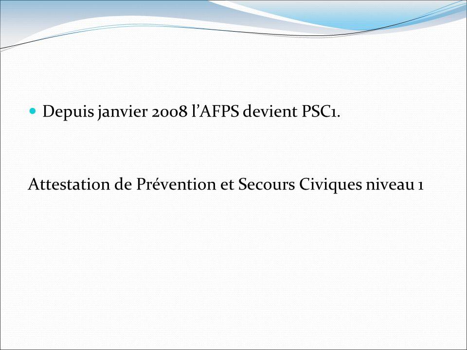 Depuis janvier 2008 l'AFPS devient PSC1.
