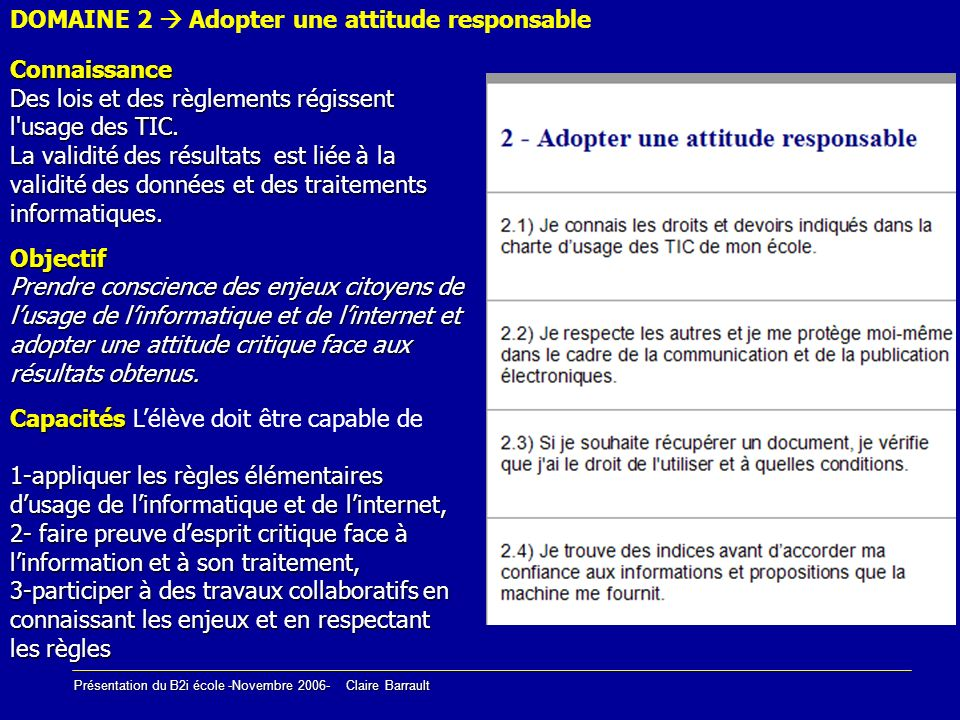 DOMAINE 2  Adopter une attitude responsable